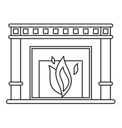 fireplace icon outline style vector image