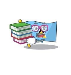 Flag saint lucia on student bring book cartoon vector