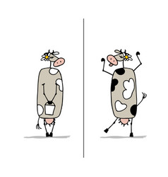 funny cow is dreaming sketch for your design vector image