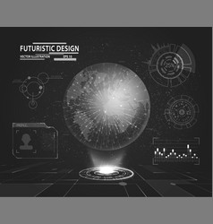 futuristic interface with planet hologram vector image