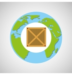 Globe world delivery cardboard box vector