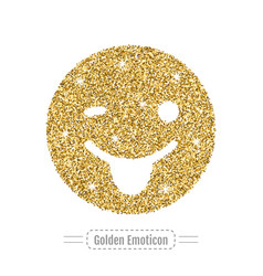 Gold emoticon is winking and smiling is showing vector