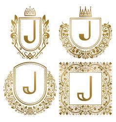 Golden vintage monograms set heraldic logos j vector