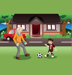 Grandpa and grandson playing soccer vector