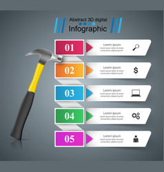Hammer repair icon business infographic vector