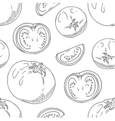 hand drawn seamless pattern with tomatoes vector image