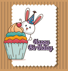 happy birthday card with cute bunny vector image