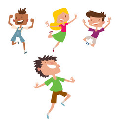 happy children in different positions big vector image