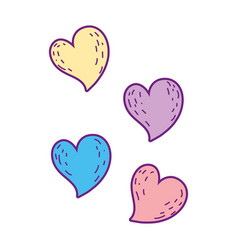 hearts love colors icons vector image
