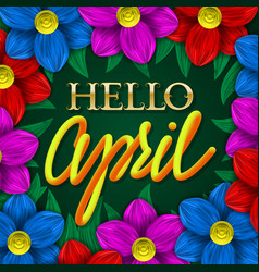 hello april golden and yellow gradient plastic vector image