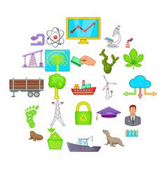 helping animals icons set cartoon style vector image