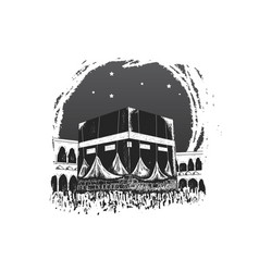 Holy kaaba hand drawn isolated on white vector