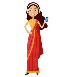 Indian woman operator avatar customer call center vector