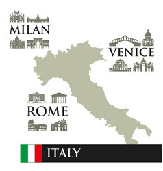 infographic contour map of italy sights symbols vector image