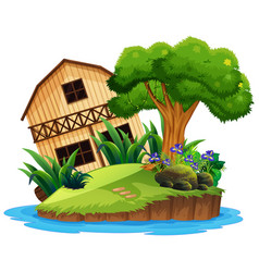 isolated wooden house on island vector image