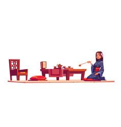 Japanese tea ceremony and girl in kimono vector