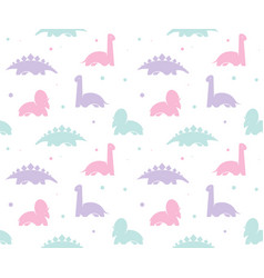 kids baby background with cute dinosaurs seamless vector image