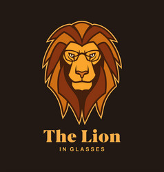 lion head in glasses lion mascot character vector image