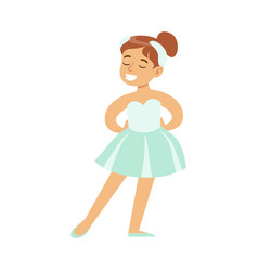 Little girl in swans lake costume dancing ballet vector
