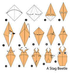 Make origami a stag beetle vector