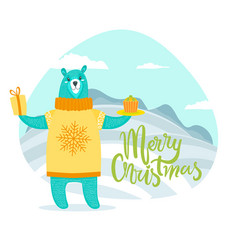 Merry christmas greeting card with bear in sweater vector