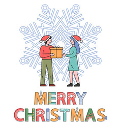 merry christmas people exchanging gifts on xmas vector image