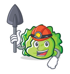 Miner lettuce character mascot style vector