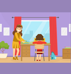 Mom helping her child with homework at home vector
