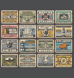 naval ship museum marine seafaring retro posters vector image