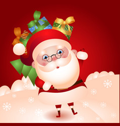 old santa with a bag gifts vector image