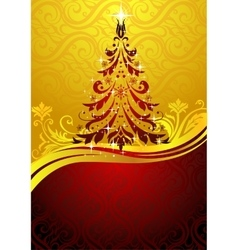 Ornate red Christmas tree vector