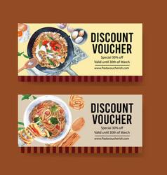 Pasta voucher design with broccoli pan spoon vector