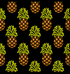 Pineapple green and brown dark seamless vector