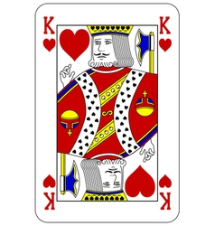 Poker playing card King heart vector
