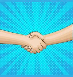 Pop art retro handshake background vector