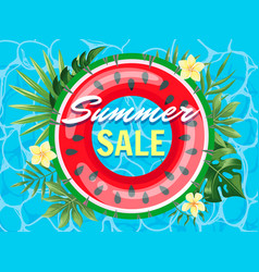 poster summer sale with watermelon inflatable ring vector image