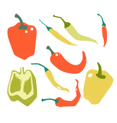 red green yellow pepper in flat style and vector image
