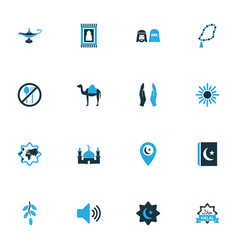 Religion icons colored set with rosary islam food vector