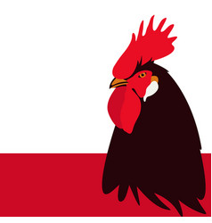 rooster black head flat style vector image
