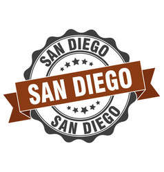 San diego round ribbon seal vector