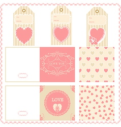 Scrapbook design elements Valentines for design vector image