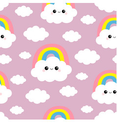 seamless pattern cloud rainbow funny face head vector image
