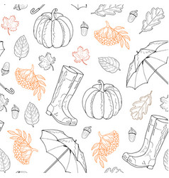 seamless pattern from leaves rubber boots vector image