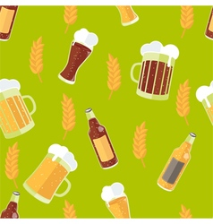 Seamless pattern with flat icons of beer vector image