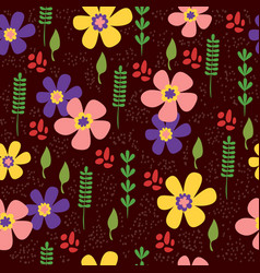 seamless pattern with hand drawing cute flowers vector image