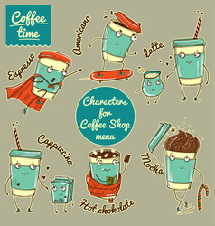 Set of color coffee cup characters for coffee shop vector