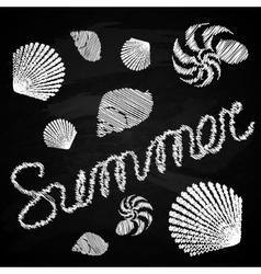 Set of marine figures on the chalkboard Summer vector image