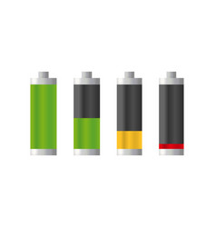 set of realistic batteries charge charge level vector image