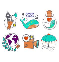 Six instagram hignlights stories elements for web vector