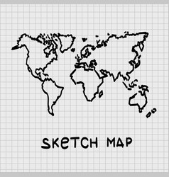 sketch of hand drawn world map vector image